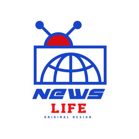 News Life original design, social mass media emblem, breaking and live news badge vector Illustration i on a white background Illusztráció
