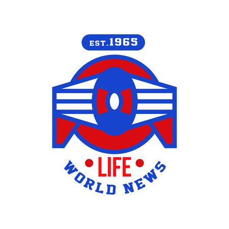 Life world news est 1965, social mass media emblem, live news retro badge vector Illustration on a white background Illustration
