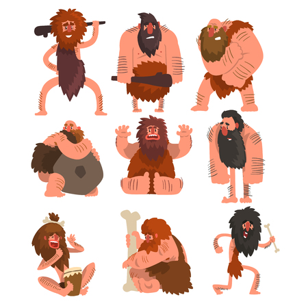 Primitieve holbewoners set, steentijd prehistorische man cartoon karakter vector illustraties op een witte achtergrond