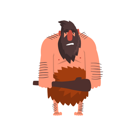 Muscular primitive caveman with club, stone age prehistoric man character cartoon vector Illustration on a white background Illustration