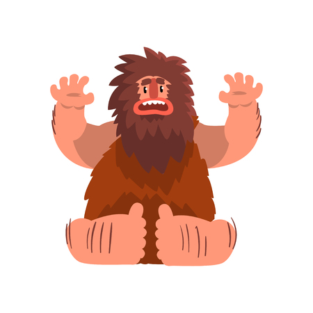 Funny primitive caveman, stone age prehistoric man character cartoon vector Illustration on a white background