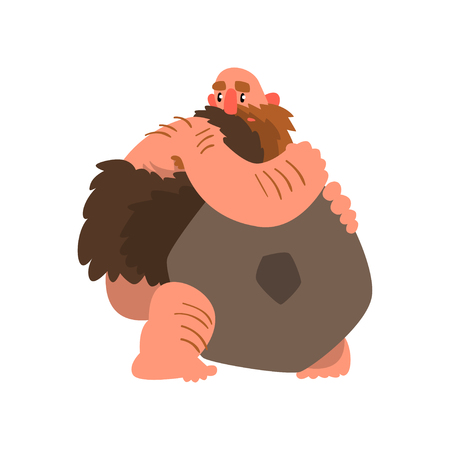 Primitive muscular caveman with stone, prehistoric man character cartoon vector Illustration on a white background