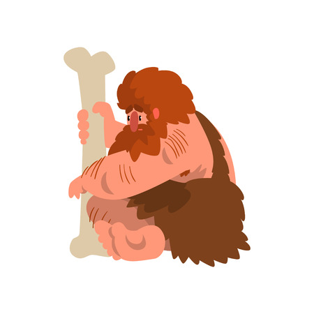 Muscular primitive caveman sitting with huge bone, stone age prehistoric man character cartoon vector Illustration on a white background