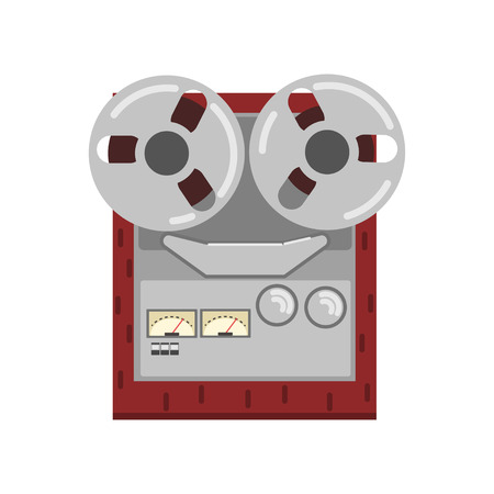 Retro reel recorder tape player vector Illustration on a white background  イラスト・ベクター素材