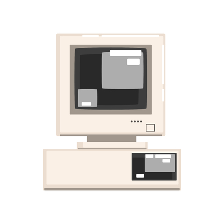 Retro personal computer vector Illustration on a white background 向量圖像