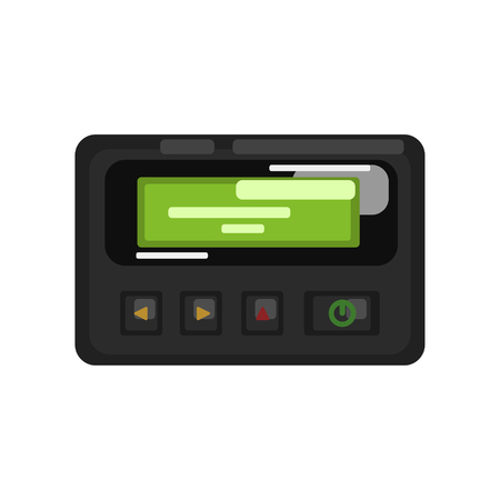 Pager retro telecommunication technology vector Illustration on a white background