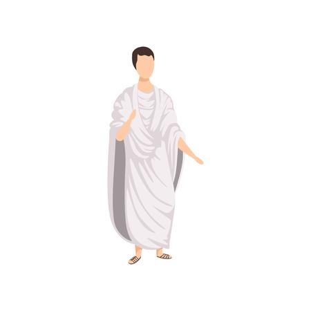 Cittadino romano, uomo in abiti tradizionali dell'antica Roma vettoriale illustrazione su sfondo bianco