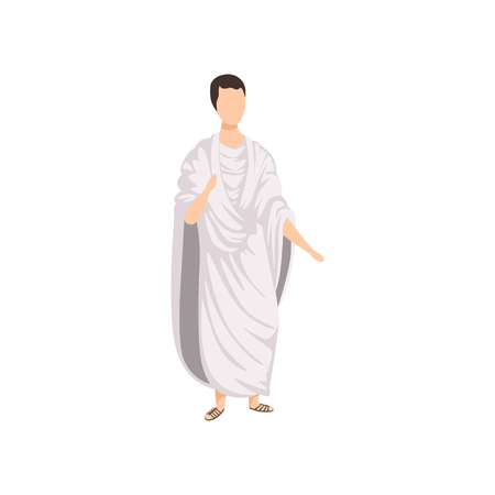 Roman citizen, man in traditional clothes of Ancient Rome vector Illustration on a white background