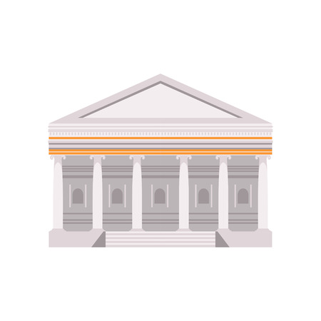 Facade of a traditional Roman building vector Illustration on a white background