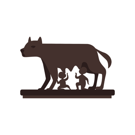 Capitoline Wolf with Romulus and Remus vector Illustration on a white background 向量圖像