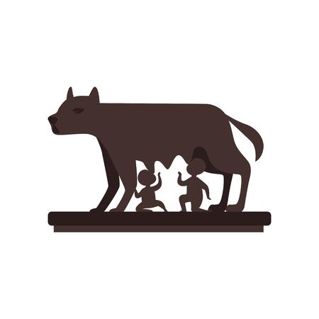 Lobo Capitolino con vector de Rómulo y Remo ilustración sobre un fondo blanco Ilustración de vector