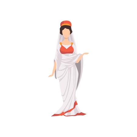 Rzymska kobieta w tradycyjnych strojach, obywatel starożytnego Rzymu wektor ilustracja na białym tle