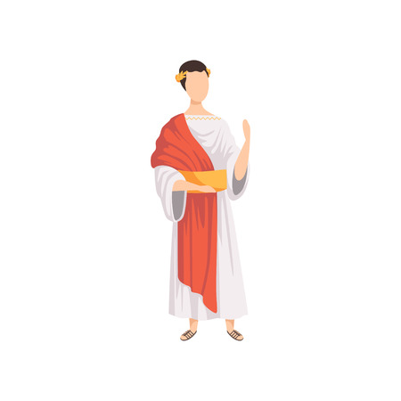 Roman emperor, man in traditional clothes of Ancient Rome vector Illustration on a white background
