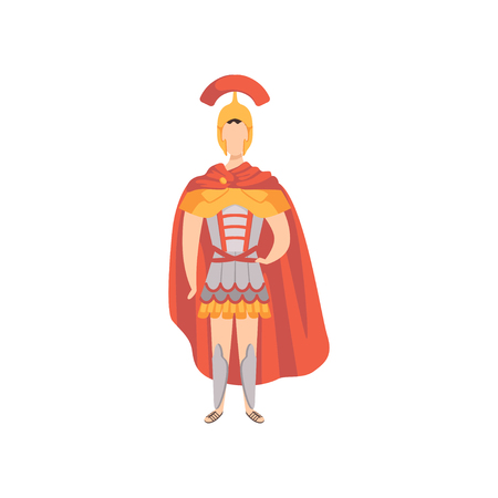 Guerriero romano, soldato in abiti tradizionali dell'antica Roma vettoriale illustrazione su sfondo bianco