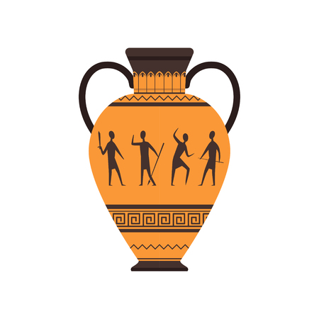 Ancient vase or amphora with traditional Roman ornament vector Illustration on a white background Vectores