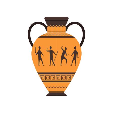 Oude vaas of amfora met traditionele Romeinse sieraad vector illustratie op een witte achtergrond