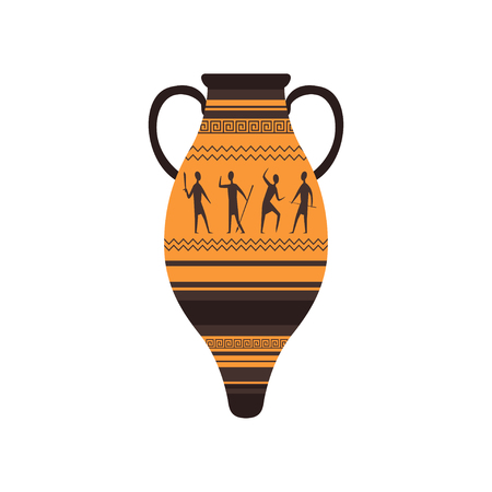 Ancient amphora with traditional Roman ornament vector Illustration on a white background Çizim