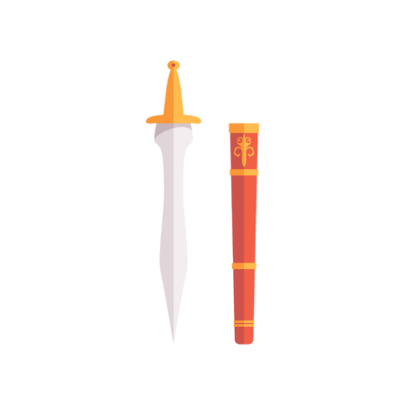 Roman dagger and scabbard vector Illustration on a white background Illustration