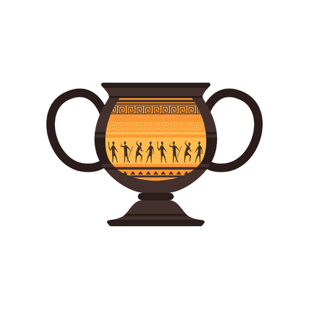 Ancient ceramic amphora with traditional Roman ornament vector Illustration on a white background