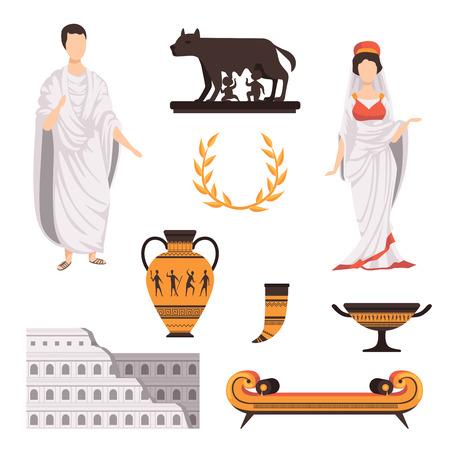 Los símbolos culturales tradicionales de la antigua Roma establecen ilustraciones vectoriales sobre un fondo blanco. Ilustración de vector