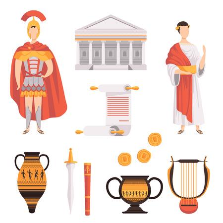 Los símbolos tradicionales del antiguo Imperio Romano establecen ilustraciones vectoriales sobre un fondo blanco.