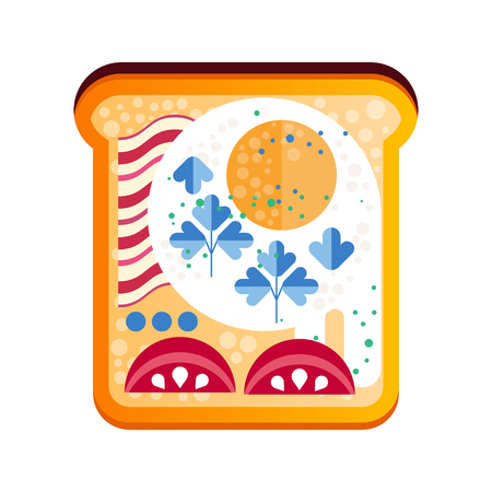Toasted sandwich with vector tomato, ham and egg Illustration on a white background