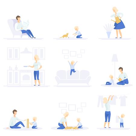 Parents and their kid spending time together and doing homework set, family lifestyle concept vector Illustrations on a white background Vettoriali