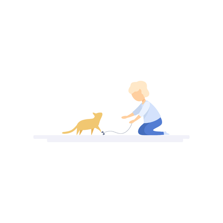 Girl playing with her pet cat, family lifestyle concept vector Illustration on a white background