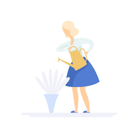 Beautiful young blonde woman watering flowers with watering can, family lifestyle concept vector Illustration on a white background