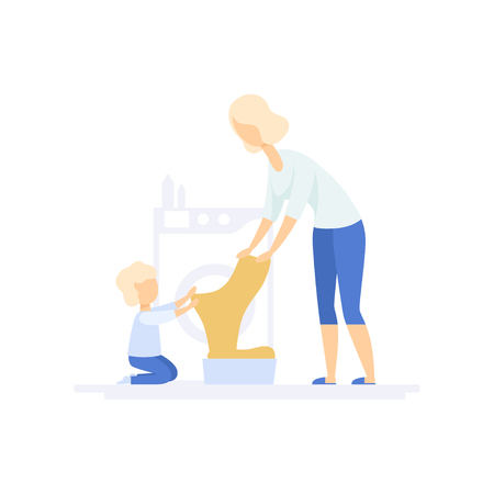 Young woman doing laundry, little son helping her, family lifestyle concept vector Illustration on a white background