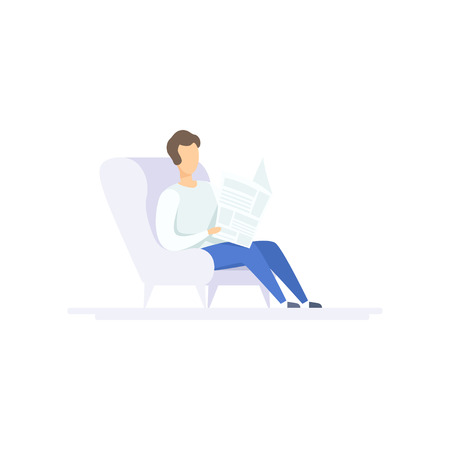 Young man sitting in armchair and reading newspaper, family lifestyle concept vector Illustration on a white background