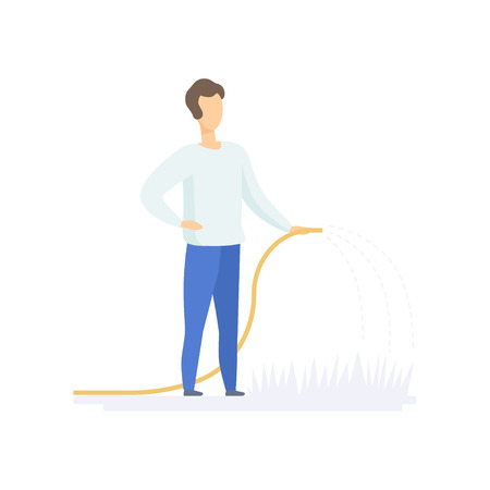 Young man watering plants in the garden with hose, family lifestyle concept vector Illustration on a white background Illusztráció