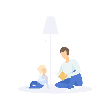 Father reading a book to his little child, family lifestyle concept vector Illustration on a white background Illustration