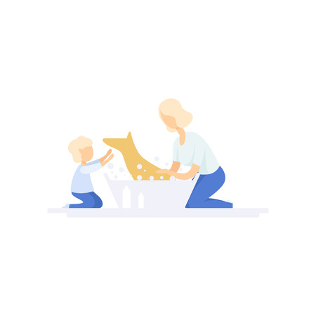 Young woman washing cute dog, kid helping her, family lifestyle concept vector Illustration on a white background