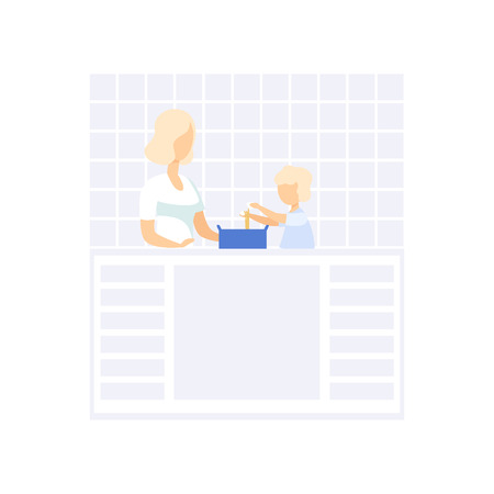 Young mom cooking in the kitchen, her little son helping her, family lifestyle concept vector Illustration on a white background