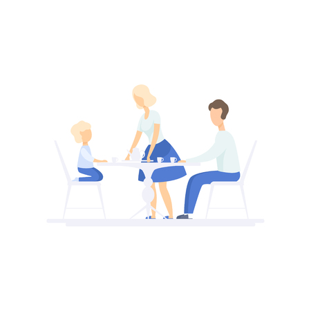 Family eating dinner together at kitchen table, family lifestyle concept vector Illustration on a white background