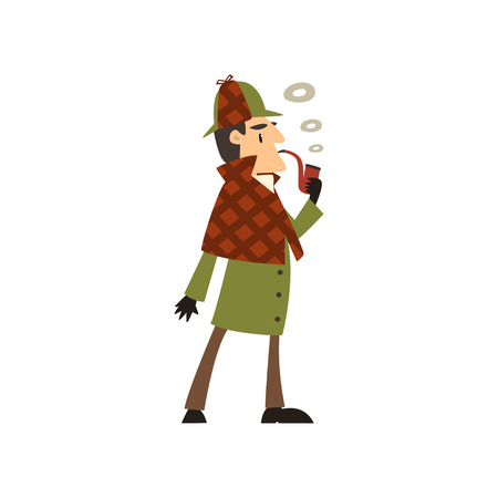 detective character smoking tobacco pipe vector Illustration on a white background