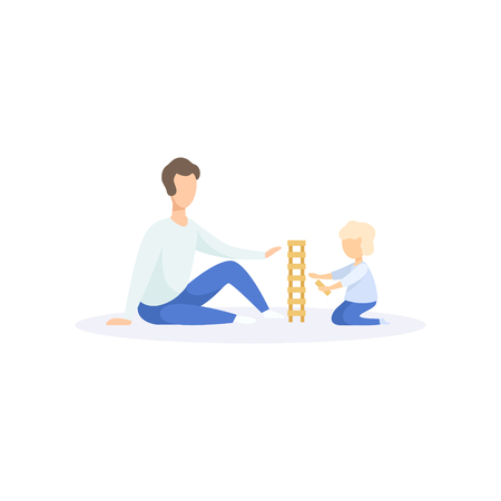 Father help his kid playing building blocks, family lifestyle concept vector Illustration on a white background