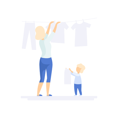 Young woman hanging wet clothes out to dry, little son helping her, family lifestyle concept vector Illustration on a white background Illustration