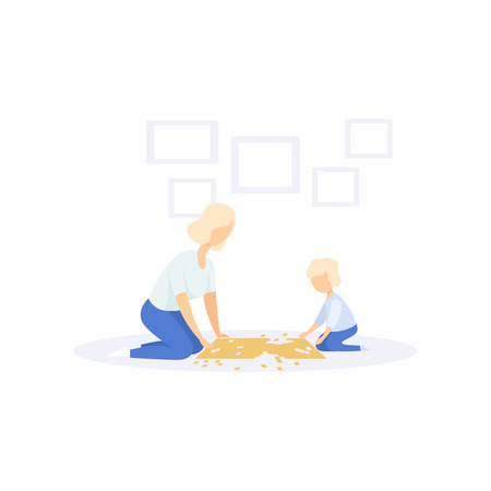 Mother and little kid solving jigsaw puzzle, family lifestyle concept vector Illustration on a white background Ilustracja