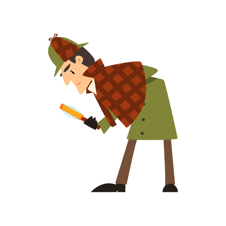 detective character with magnifying glass vector Illustration on a white background