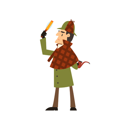 detective character with magnifying glass and smoking pipe vector Illustration on a white background