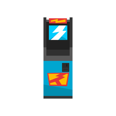 Blue electronic slot game machine vector Illustration on a white background