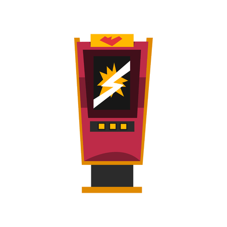 Slot machine, electronic virtual game machine vector Illustration on a white background