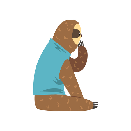 Funny sloth in blue t shirt sitting, lazy exotic rainforest animal character vector Illustrations on a white background Illustration