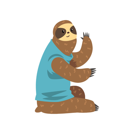 Cute sloth sitting, lazy exotic rainforest animal character vector Illustrations on a white background