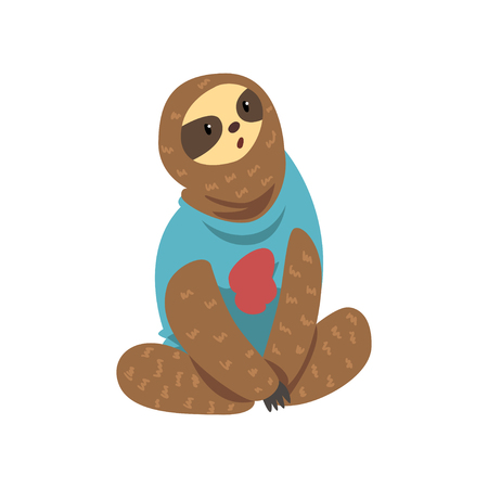 Cute funny sloth, lazy exotic rainforest animal character vector Illustrations on a white background