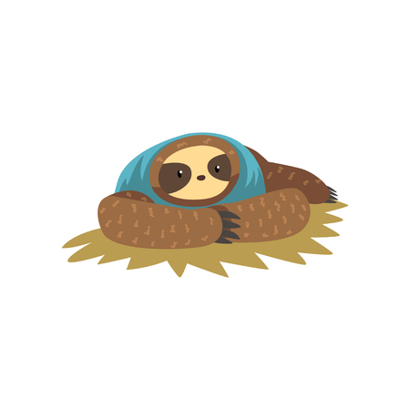 Funny sloth lying, lazy exotic rainforest animal character vector Illustrations on a white background