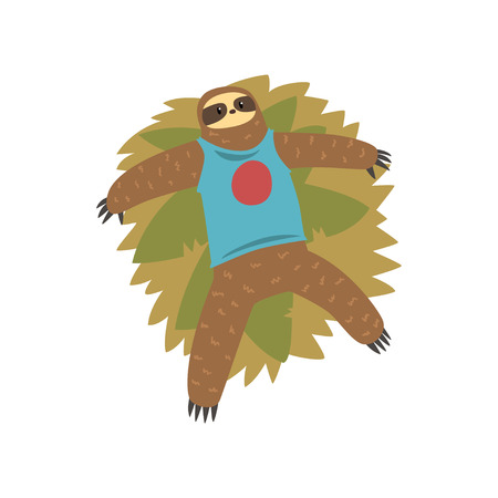 Funny sloth lying on the grass, lazy exotic rainforest animal character vector Illustrations on a white background