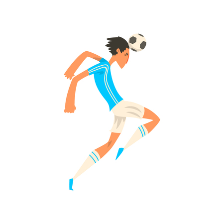 Soccer player in white and blue uniform heading soccer ball, vector Illustration on a white background